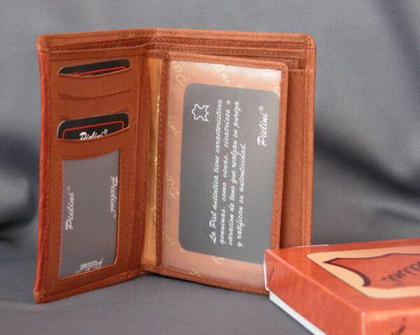 CARTERA HOMBRE CABALLERO de piel autentica color tan – Billetera, Monedero y Tarjetero (Mod. 2035)